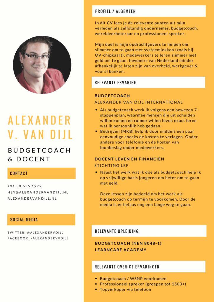 CV van Alexander van Dijl - Budgetcoach